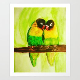 Lovebirds in love watercolorpainting Art Print