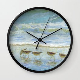 Shorebirds, A Day at the Beach Wall Clock