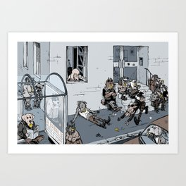 Ball-addicted dogs Art Print