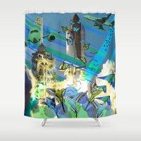 flight Shower Curtains featuring Flight by victorygarlic - Niki