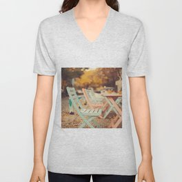 Dream Autumn (Pink and blue coffee shop chairs on retro and vintage fall) Unisex V-Neck