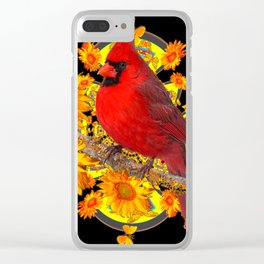 RED CARDINAL SUNFLOWERS BLACK ART Clear iPhone Case