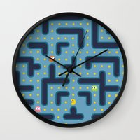 pacman Wall Clocks featuring RETRO GAME by Vickn