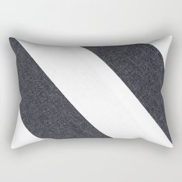 White & Black Stripes Rectangular Pillow