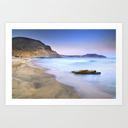 Plomo beach at sunset Art Print