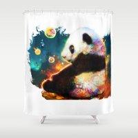 pandas Shower Curtains featuring pandas dream by ururuty