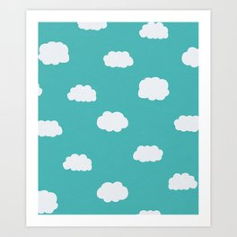 Cartoon Clouds Pattern Art Print