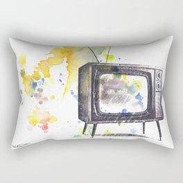 Retro Television Painting Rectangular Pillow