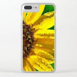 Sunflower Art Clear iPhone Case