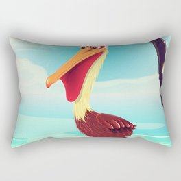 Vintage Pelican on the beach Rectangular Pillow