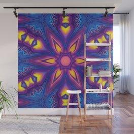 Pink, Yellow & Blue Flow Painting Mandala Wall Mural