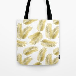 Gold Tropical Palm Leaves Pattern Tote Bag