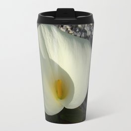 Overhead View of A White Calla Lily Against Pebbles Travel Mug