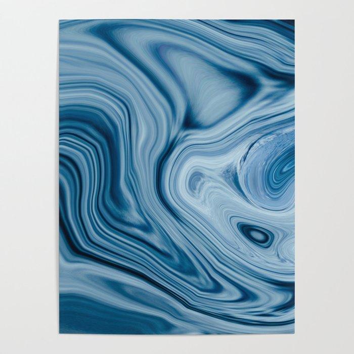 Splash of Blue Swirls, Digital Fluid Art Graphic Design Poster