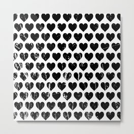Hearts Pattern | Minimalism | Black-and-White | Modern | Love Metal Print