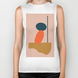 Abstract #1 Orange Blue Beige Biker Tank