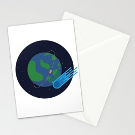 Earth Meteor Space Print Stationery Cards