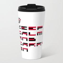 Pixel Keep Calm And Carry On Metal Travel Mug