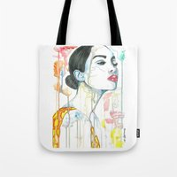 watercolour Tote Bags featuring watercolour by Udya