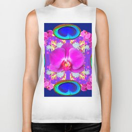 Decorative  Purple Fuchsia Orchids Biker Tank