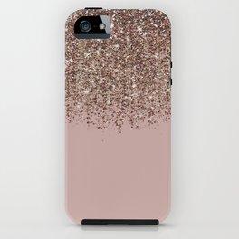 Blush Pink Rose Gold Bronze Cascading Glitter iPhone Case