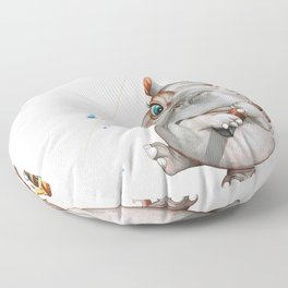 A hippopotamus fishing Floor Pillow