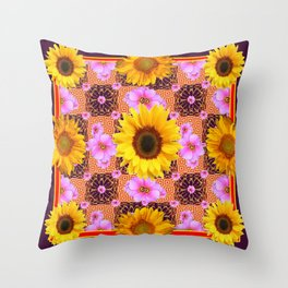 Western Style Burgundy Sunflower Art in Pink Throw Pillow