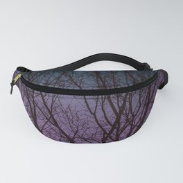 Tree Silhouette Against Blue and Purple Fanny Pack