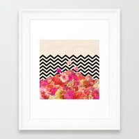 road Framed Art Prints featuring Chevron Flora II by Bianca Green