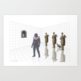 Man in a room with statues and cats_ Art Print