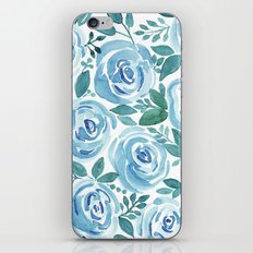 Pale blue roses . Watercolor . iPhone & iPod Skin