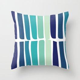 Hand Drawn Blue Green Stripes Pattern Minimal Throw Pillow