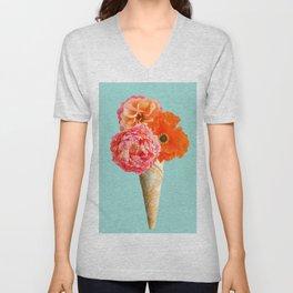 Ice cream cone with three crepe paper flowers Unisex V-Neck