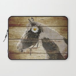 Daisy Flower on Rustic Brown Cream Horse Country Barn Art A166 Laptop Sleeve