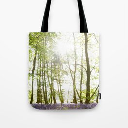 Sunlight Shining on Bluebells in a Woodland Tote Bag