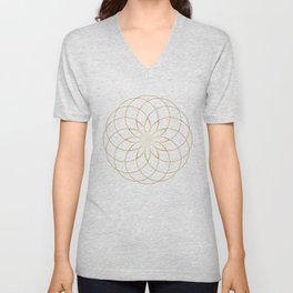 Minimalist Sacred Geometric Circular Flower in Gold and White Unisex V-Neck
