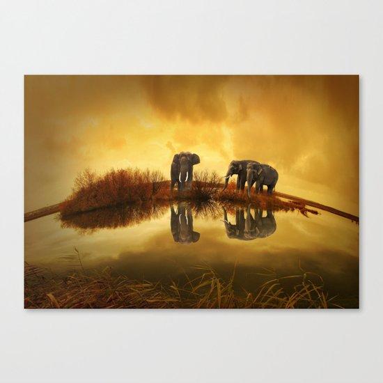 The Herd (Elephants) Canvas Print