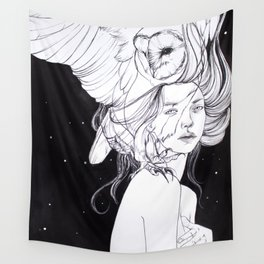 Woman with Owl Familiar Wall Tapestry
