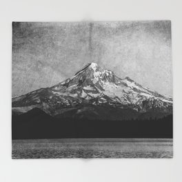 Mt Hood Black and White Vintage Nature Photography Throw Blanket