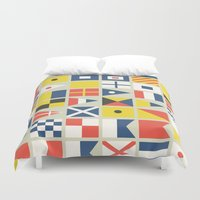 flag Duvet Covers featuring Geometric Nautical flag and pennant by Picomodi