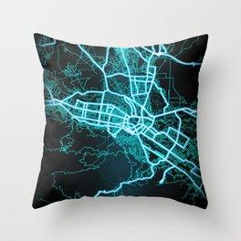 Skopje, North Macedonia, Blue, White, Neon, Glow, City, Map, Blue, White, Neon, Glow, City, Map Throw Pillow