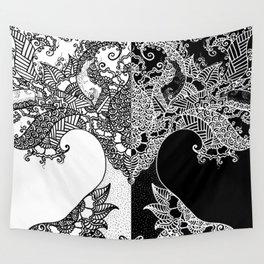 Unity of Halves - Life Tree - Rebirth - White Black Wall Tapestry