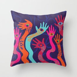 The Hands have Eyes Throw Pillow