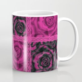 Raspberry patchwork Roses. Coffee Mug