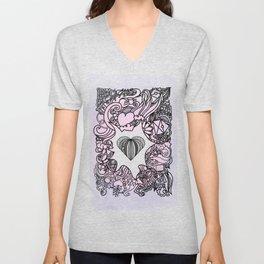 Love Doodle . Pink Unisex V-Neck