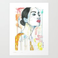 watercolour Art Prints featuring watercolour by Udya