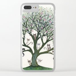 Pink Cheri Whimsical Cats in Tree Clear iPhone Case