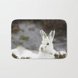 white mountain hare Bath Mat