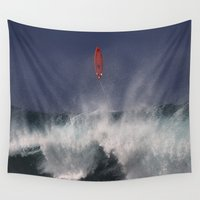 surfboard Wall Tapestries featuring Let's go fly a surfboard on the North Shore. by alex preiss