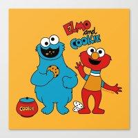 elmo Canvas Prints featuring Elmo & Cookie Fan Art by gabriela